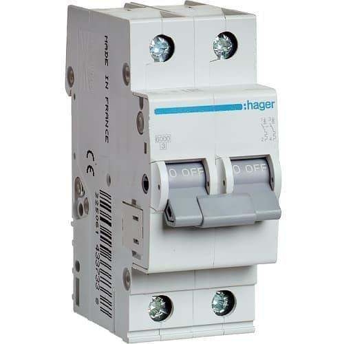 Автоматический выключатель Hager 6kA х-ка B 2P 20А двух полюсный