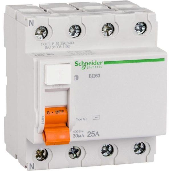 Дифференциальный автоматический выключатель ВД63 4P 30mA 25A Домовой Schneider Electric Диф автомат 4Р Schneider Electric