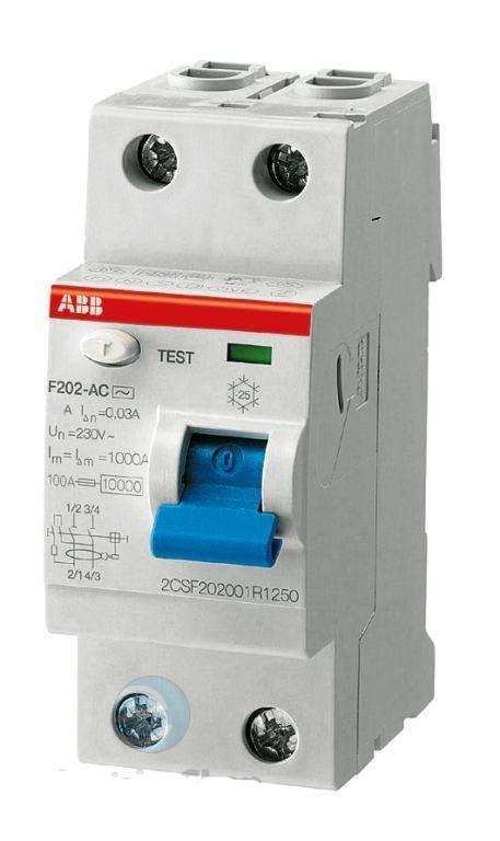 Дифреле однофазное 2-п ABB 2P, 40 Ампер, 30мА, тип АС Диф реле АВВ однофазное