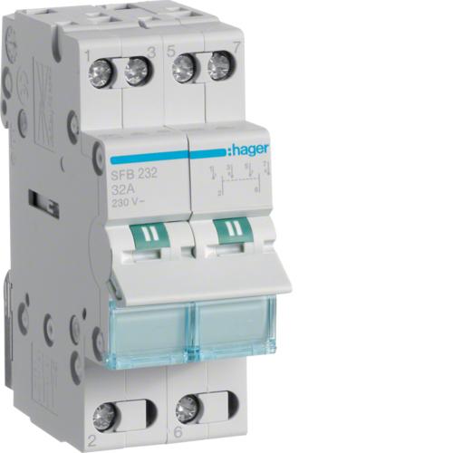 Переключатель Hager 32А SFT225 I-0-II общий ввод с верху Переключатель Hager 2Р