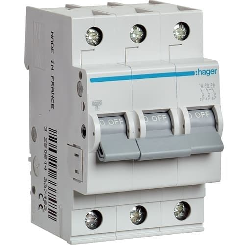 Автоматический выключатель Hager 6kA х-ка B 3P 20А Автомат Hager
