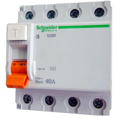 УЗО Диф реле Schneider Electric ВД63 4P 40A 30МA Диф автомат 4Р Schneider Electric