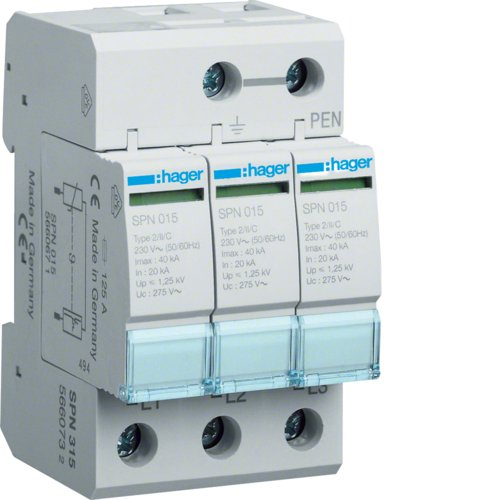 Розрядник защита от перенапряжения 3p 40кА класс II 3мод.Hager SPN315 Розрядник защита от перенапряжения 3p Hager