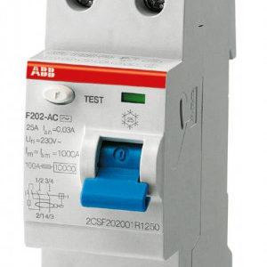 Дифреле однофазное 2-п ABB F202 2P, 25 Ампера, 30мА, тип АС Диф реле АВВ однофазное