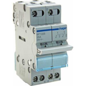 Переключатель Hager 25А SFT225 I-0-II общий ввод с верху Переключатель Hager 2Р