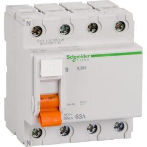 Устройство защитного отключения ВД63 4P 30mA 63A Домовой Schneider Electric Диф автомат 4Р Schneider Electric